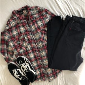 Studded Flannel Button Up
